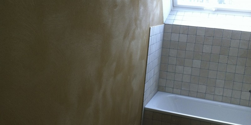 Lehmputz mit Marmor Travertin 10×10 cm, in Detmold